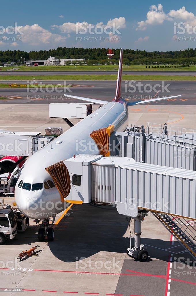 Airplane at the Narita airport, Japan stock photo