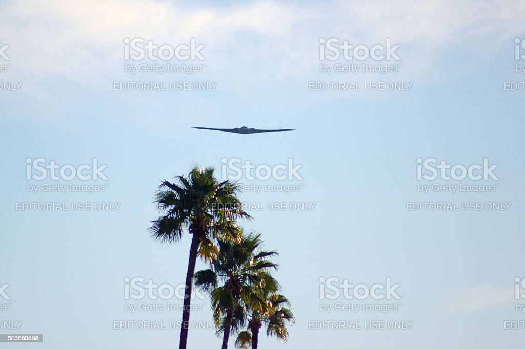 Airplane B-2 Stealth Bomber flying past 2016 parade stock photo