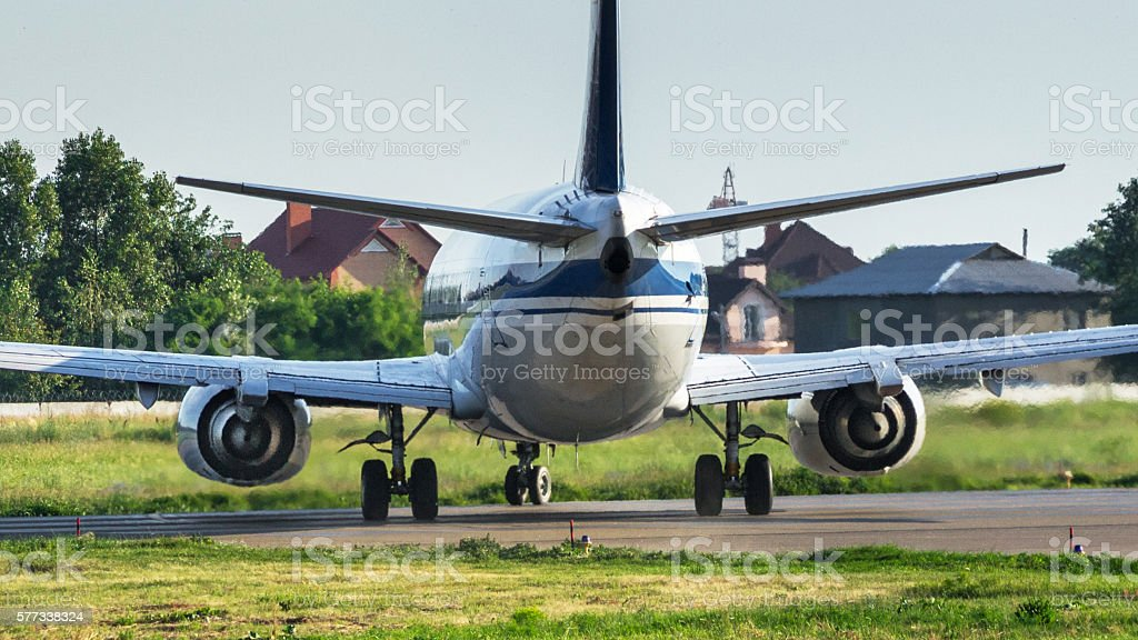 Airplane back view stock photo