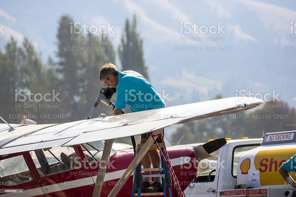 Airplane being Fueled at Fly-In Hood River Oregon stock photo