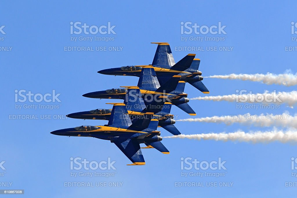 Airplane Blue Angels F-18 jet fighters stock photo