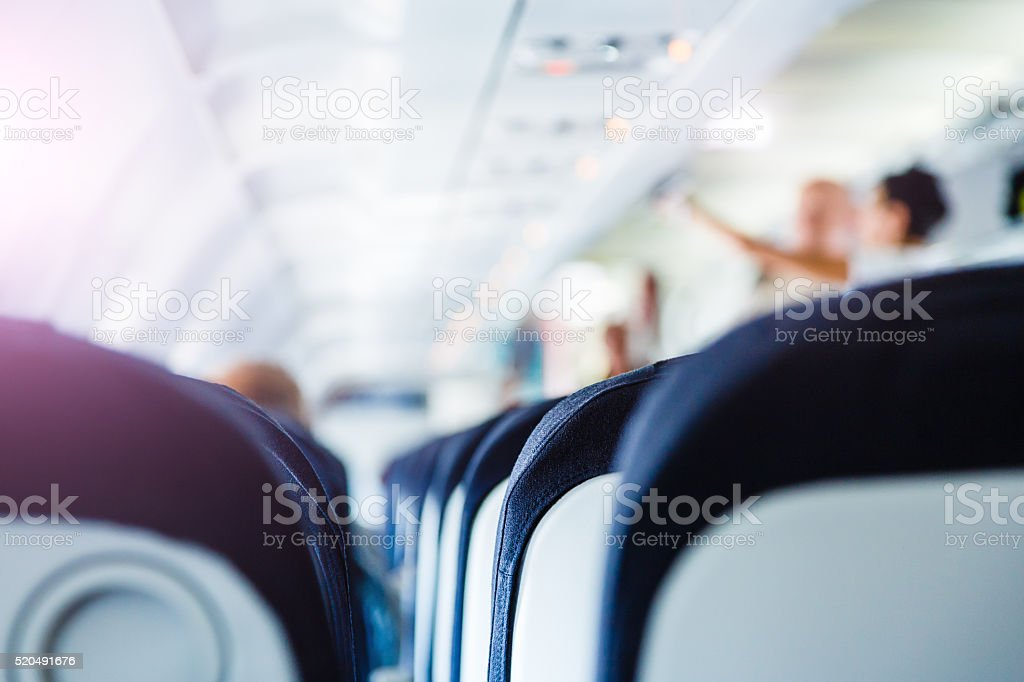 Airplane boarding before flight stock photo