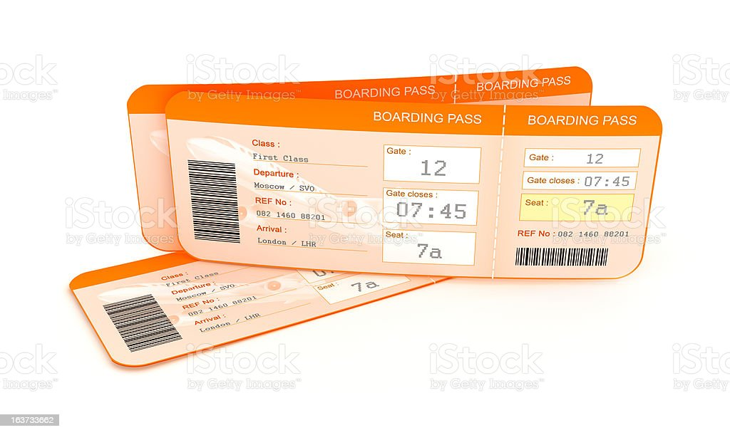 Airplane boarding pass tickets. stock photo