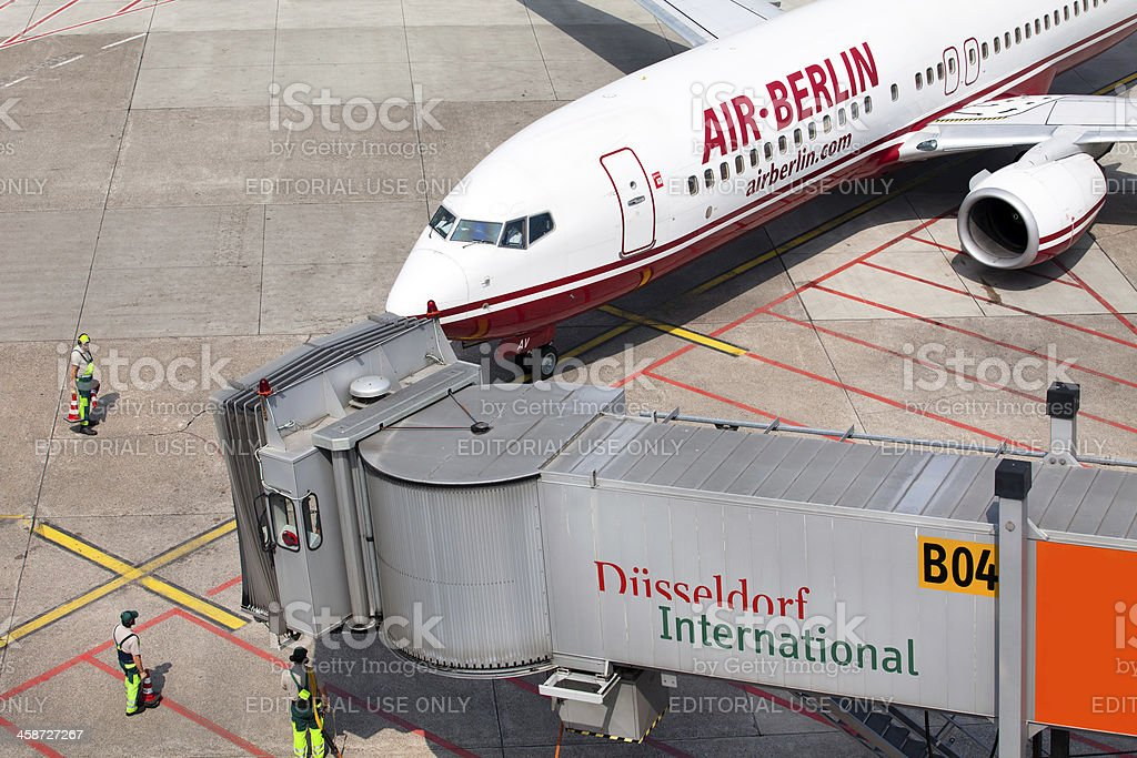 Airplane Boeing 737-86J of AirBerlin airlines stock photo