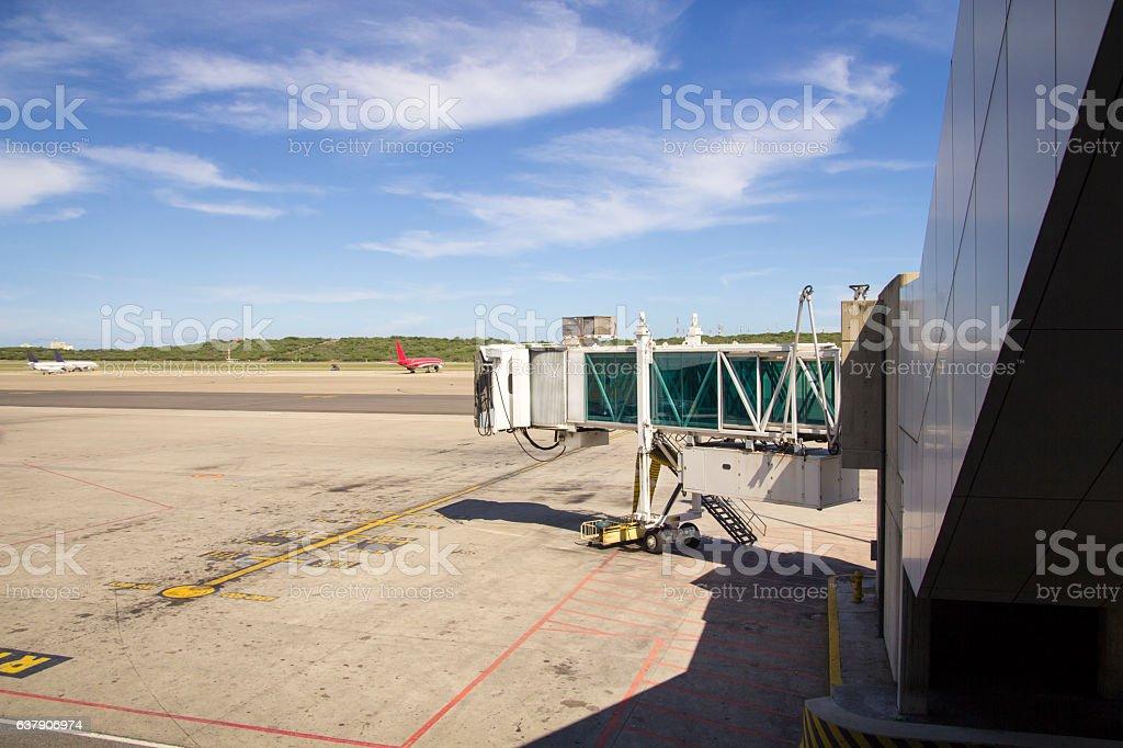 Airplane bridge, walkway to airplane for passengers stock photo