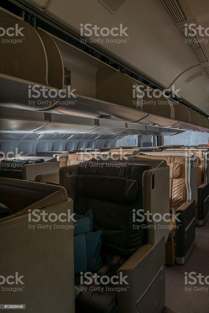 Airplane business class stock photo