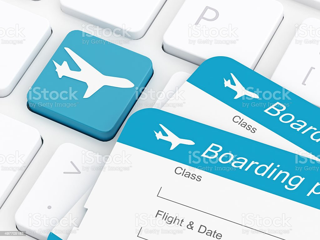 Airplane Button and Airplane ticket stock photo