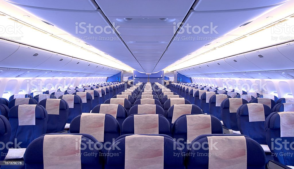airplane cabin interior stock photo