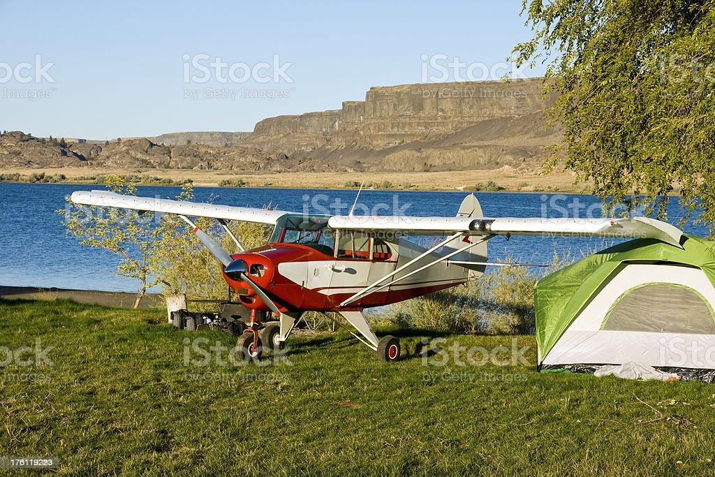 AirPlane Camping Banks Lake stock photo