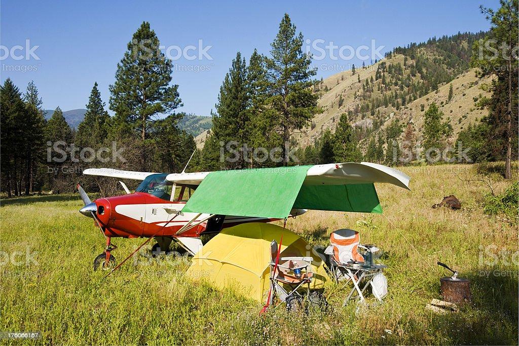 Airplane Camping in Idaho stock photo