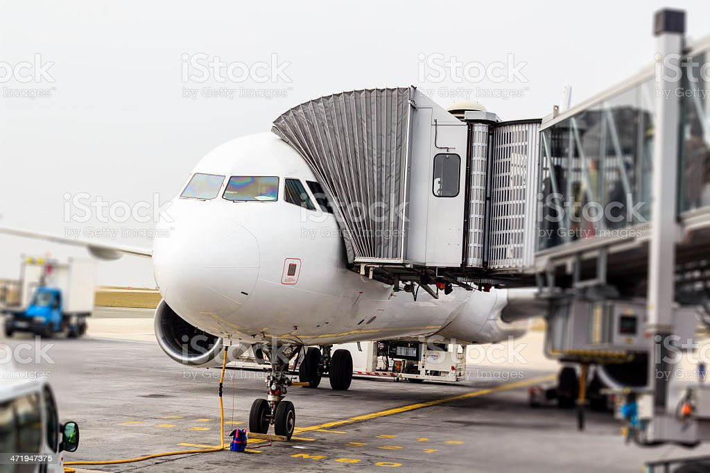 Airplane, Charles de Galle airport, Paris stock photo