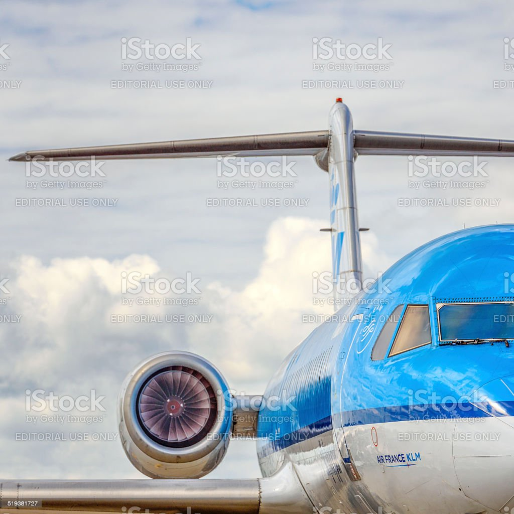 KLM airplane close up stock photo