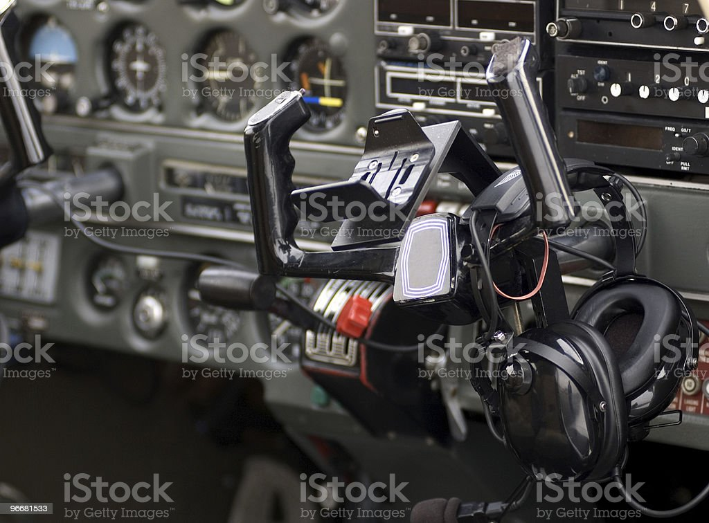 Airplane Cockpit and Wheel royalty-free stock photo