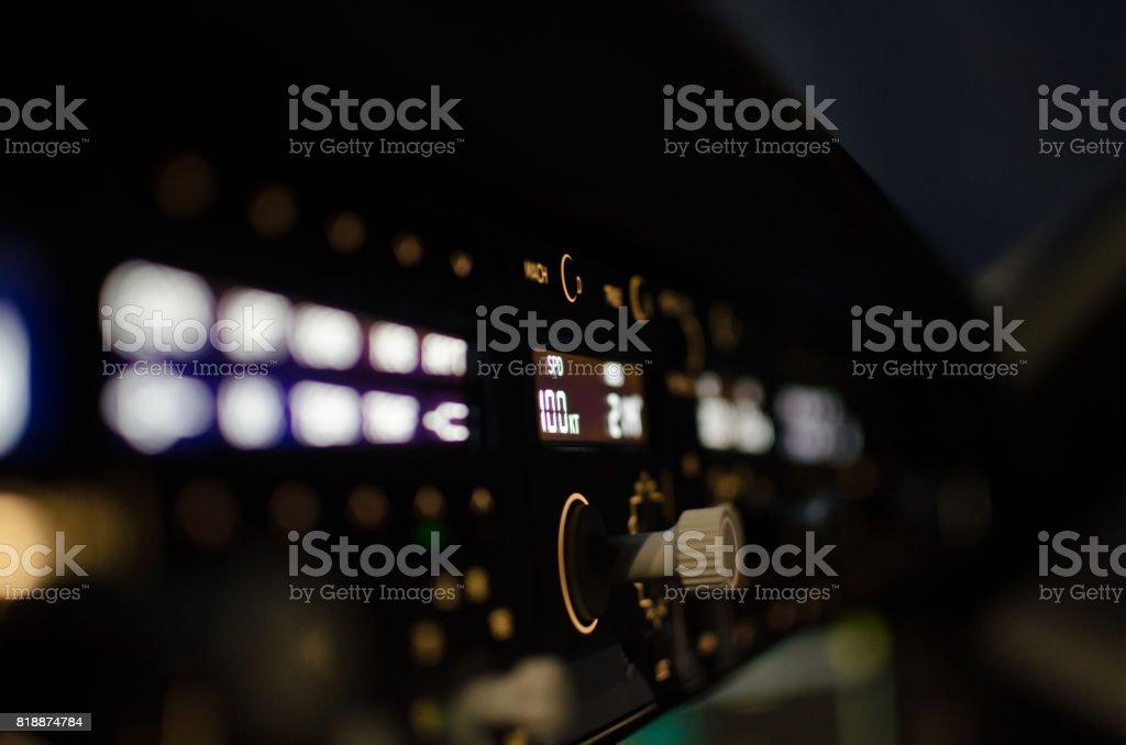 Airplane Cockpit at Night stock photo
