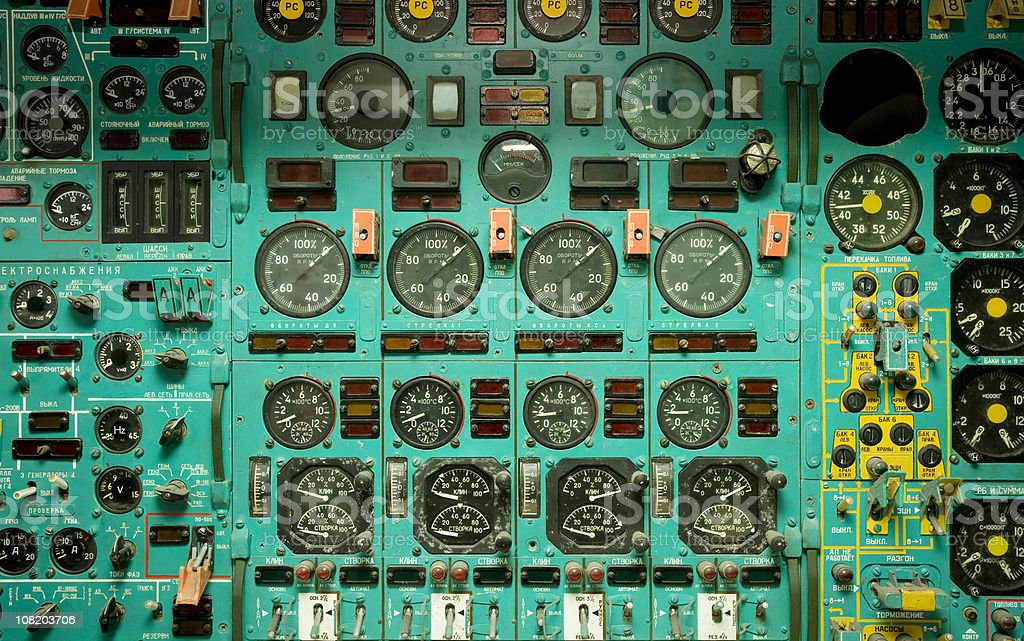 Airplane cockpit dials stock photo
