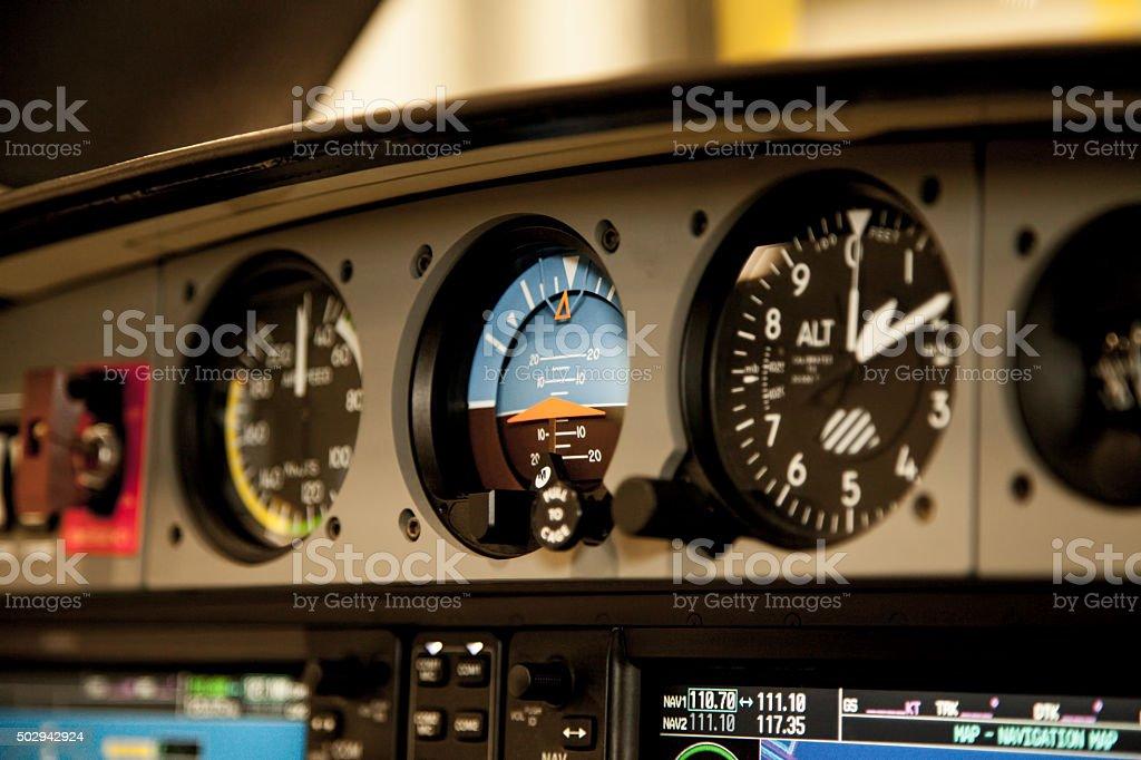 Airplane Cockpit Flight Instrument - Attitude Indicator stock photo