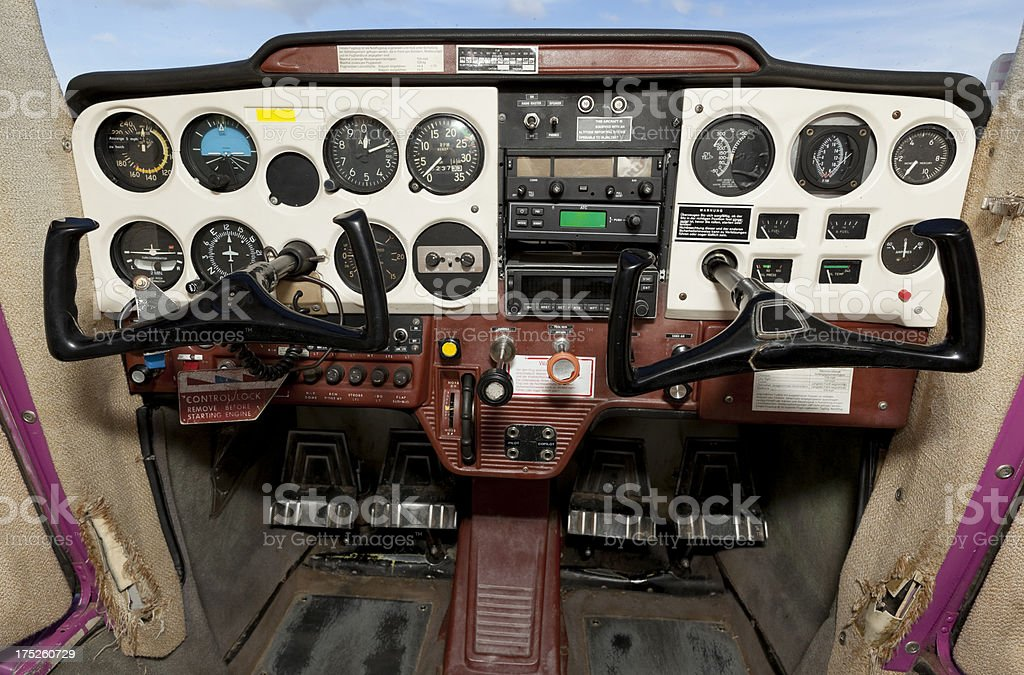 Airplane cockpit of old Cessna with flight instruments stock photo