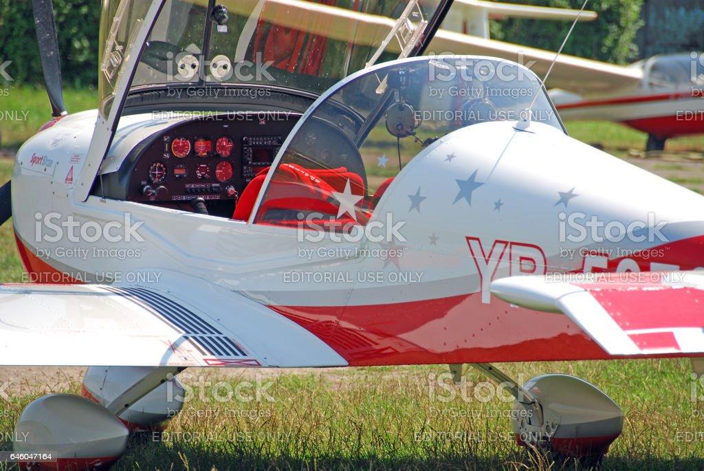 Airplane cockpit, photo in the airfield, Iasi - Romania stock photo