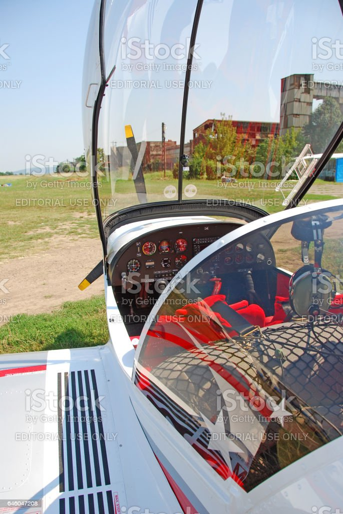 Airplane cockpit, photo in the airfield, Iasi - Romania stock photo