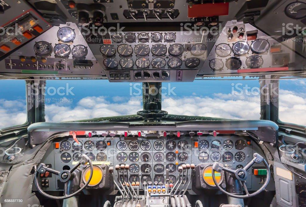 Airplane cockpit view. stock photo