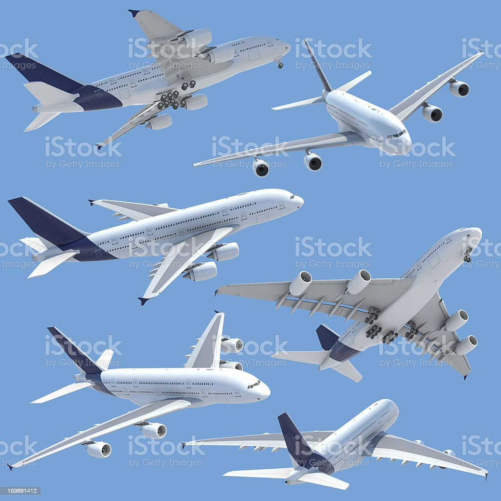 airplane collection set isolated royalty-free stock photo