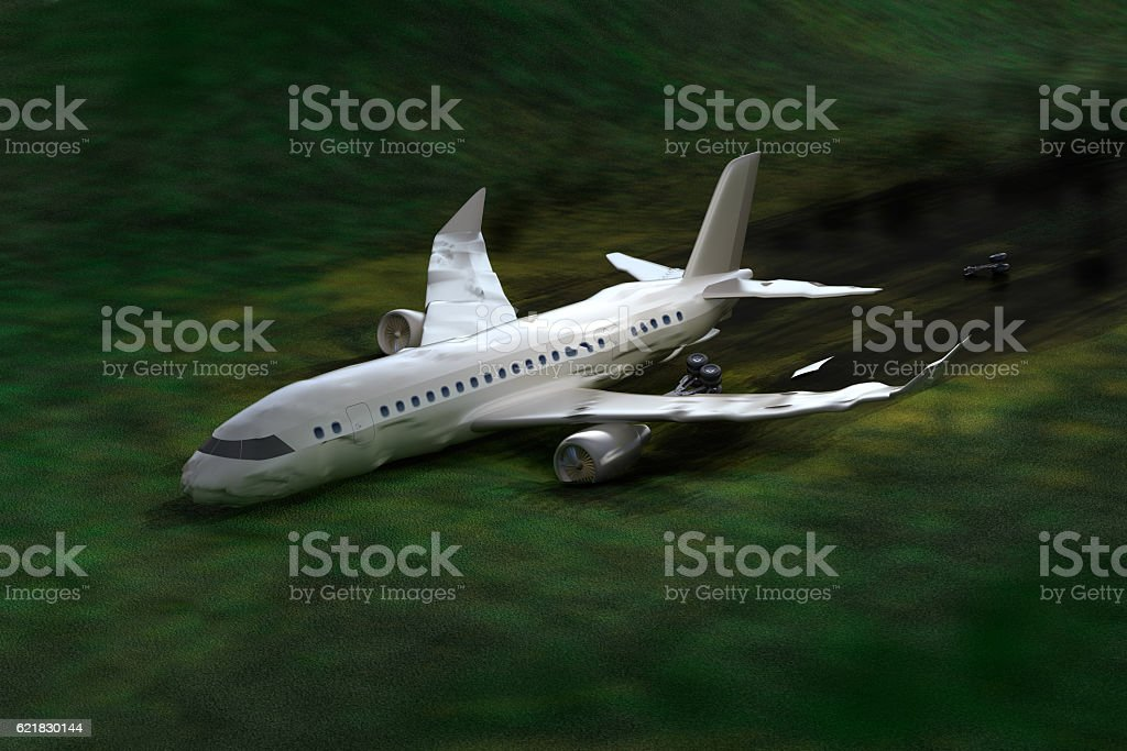 Airplane crash, 3D illustration. My own design stock photo