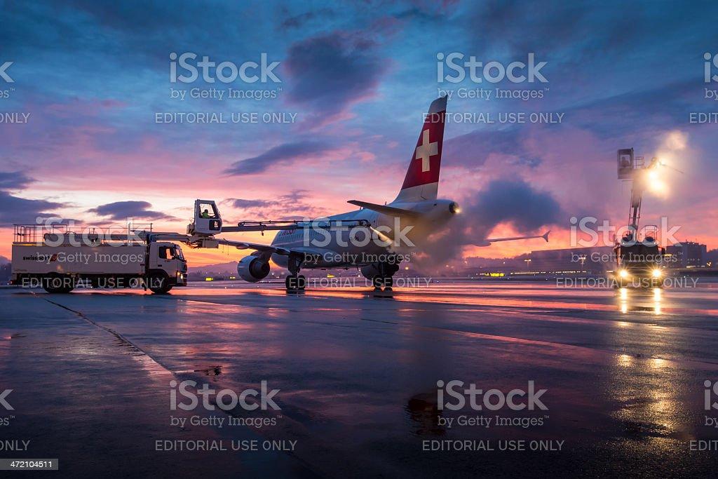 Airplane Deicing stock photo