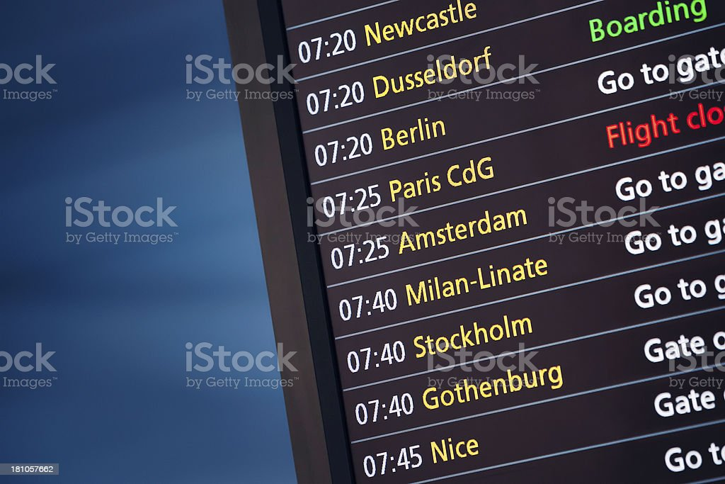 Airplane departures board stock photo