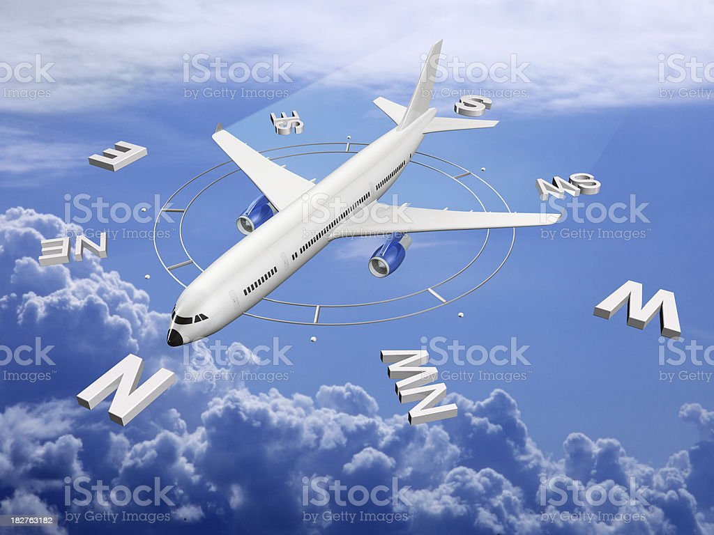 Airplane direction. stock photo