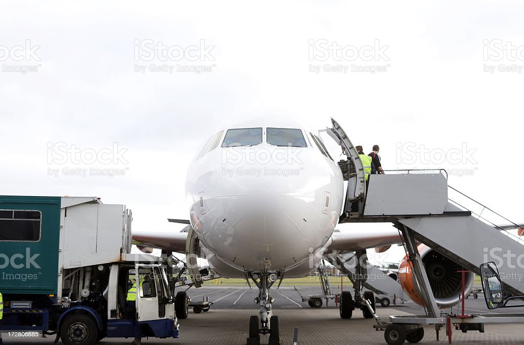 Airplane Disembarkation stock photo