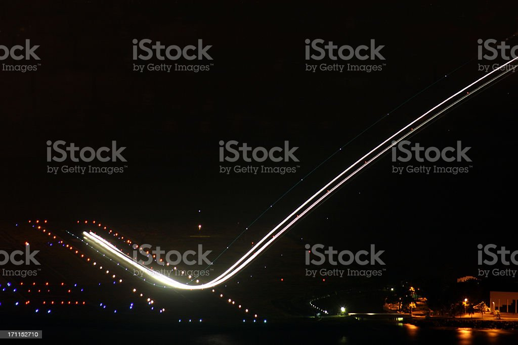 Airplane during takeoff stock photo