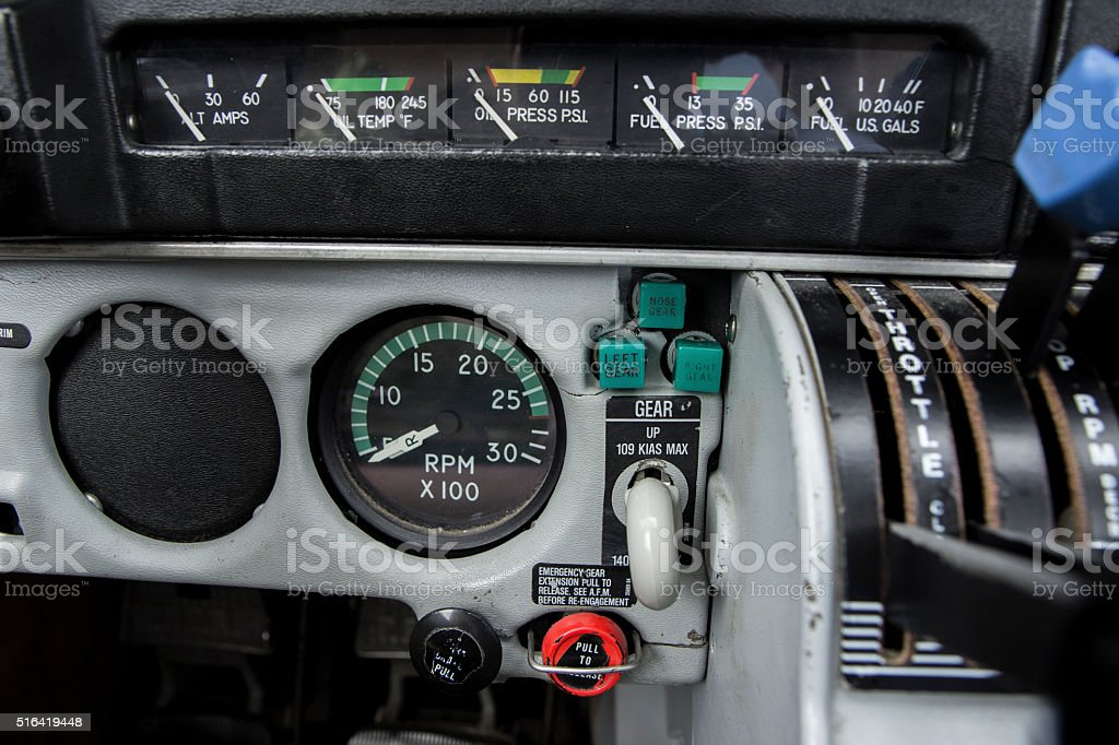 Airplane Engine Instruments and Landing Gear Lever stock photo