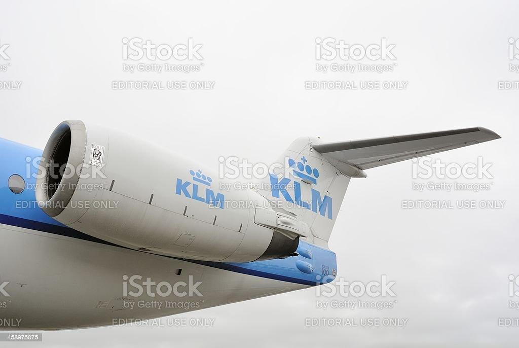 KLM airplane engine stock photo