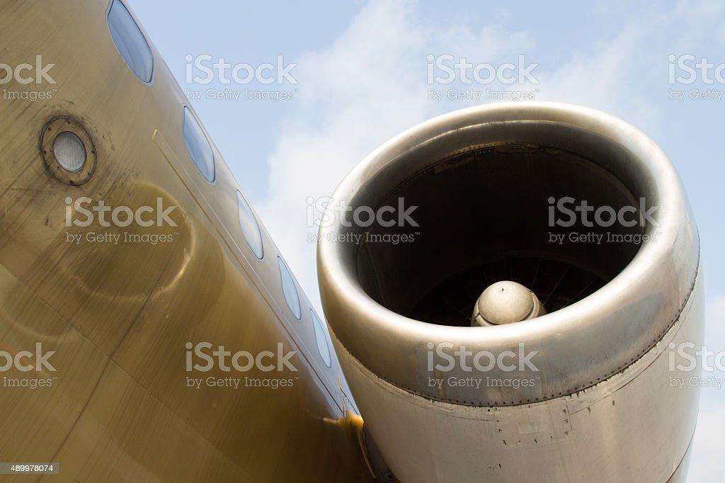 Airplane engine stock photo