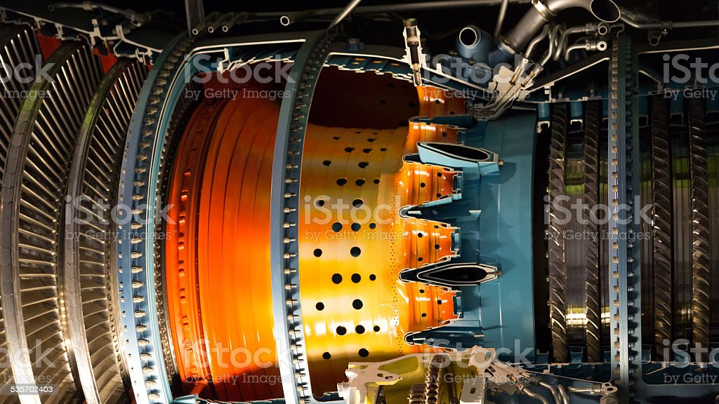 Airplane engine stock photo