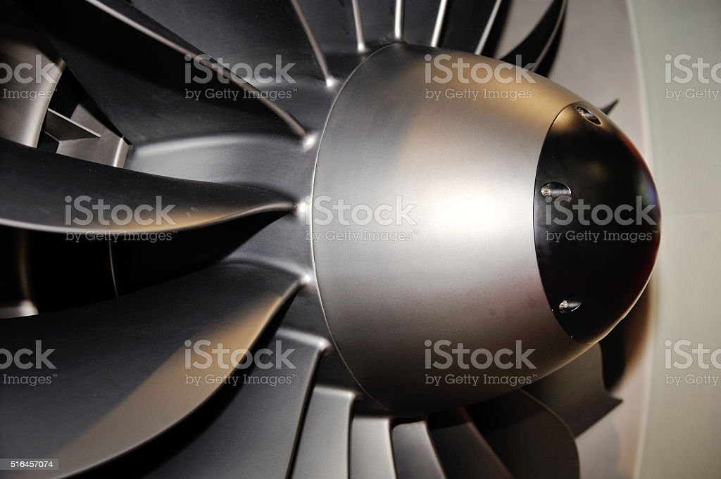 Airplane engine turbine blades stock photo
