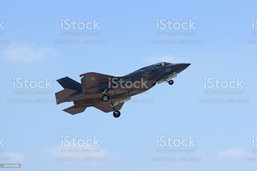 Airplane F-35 Lightning stealth jet fighter stock photo