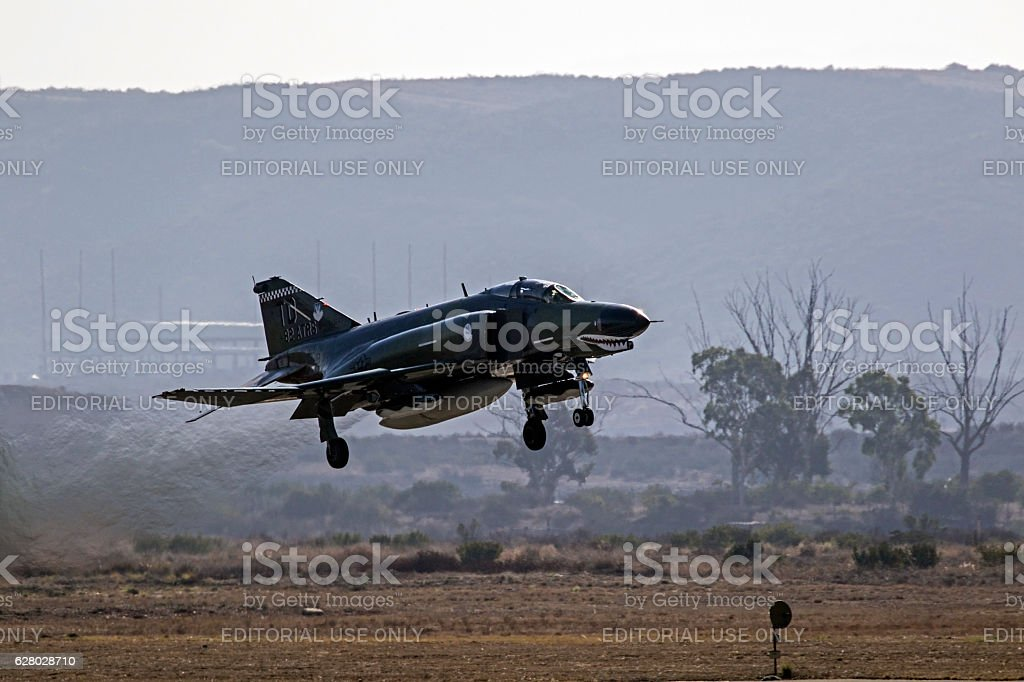 Airplane F-4 Phantom landing stock photo