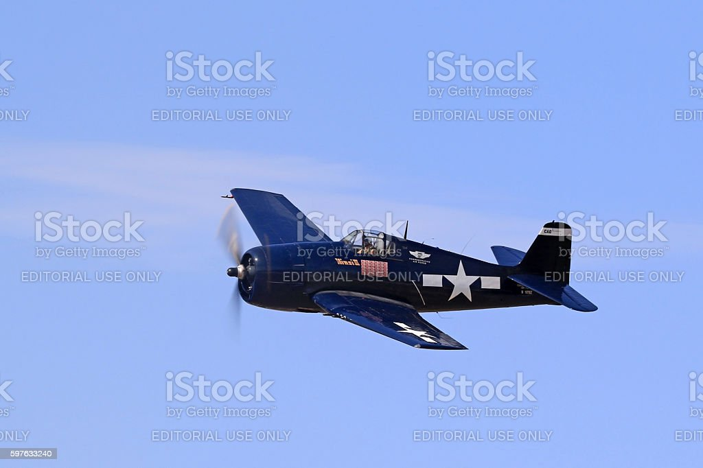 Airplane F6F Hellcat WWII vintage aircraft stock photo