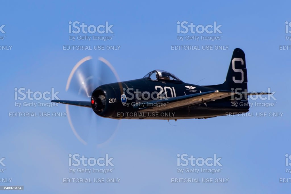 Airplane F8F Bearcat WWII fighter aircraft stock photo