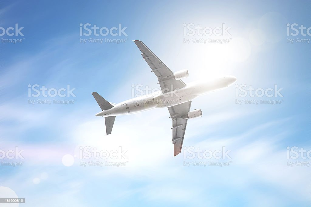 Airplane flight in the air, copyspace royalty-free stock photo