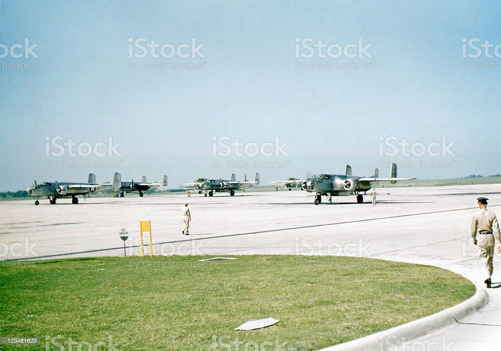 B-25 airplane flight line 1949 stock photo