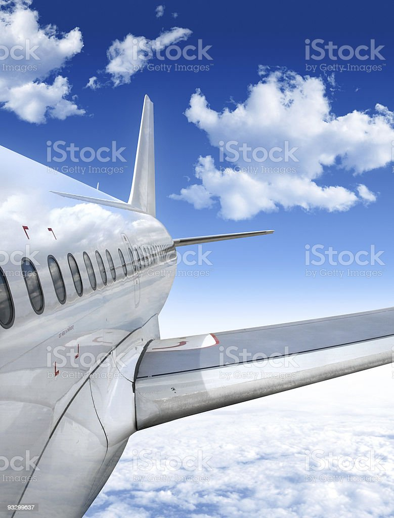 airplane flying in the sky royalty-free stock photo