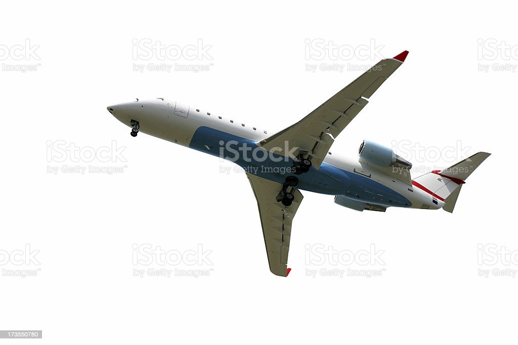 Airplane flying, isolated royalty-free stock photo