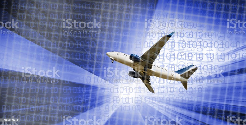 Airplane flying on industrial landscape stock photo