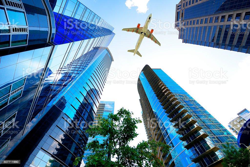 Airplane flying over Atlanta, Georgia, USA stock photo