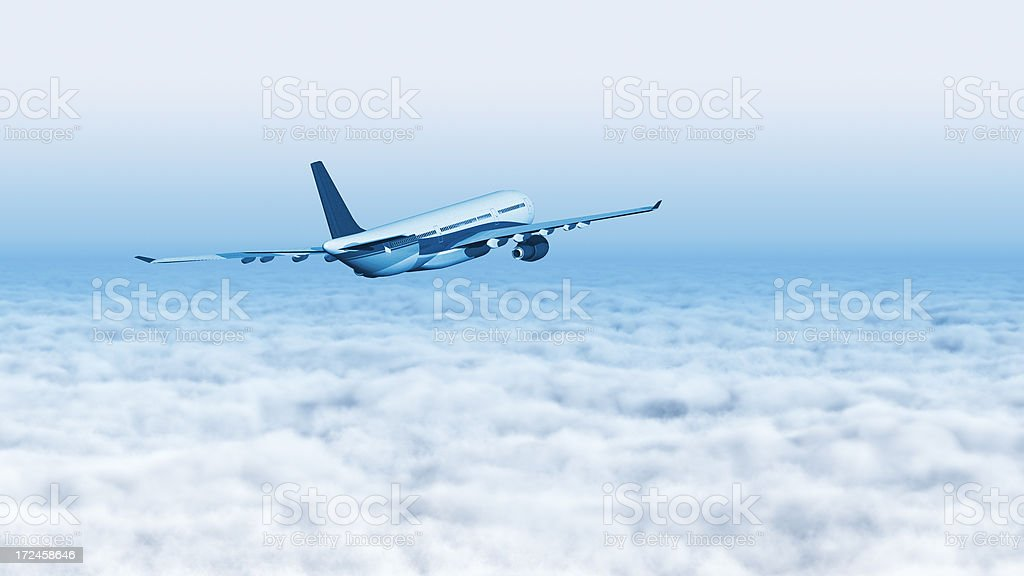 Airplane flying over the clouds royalty-free stock photo