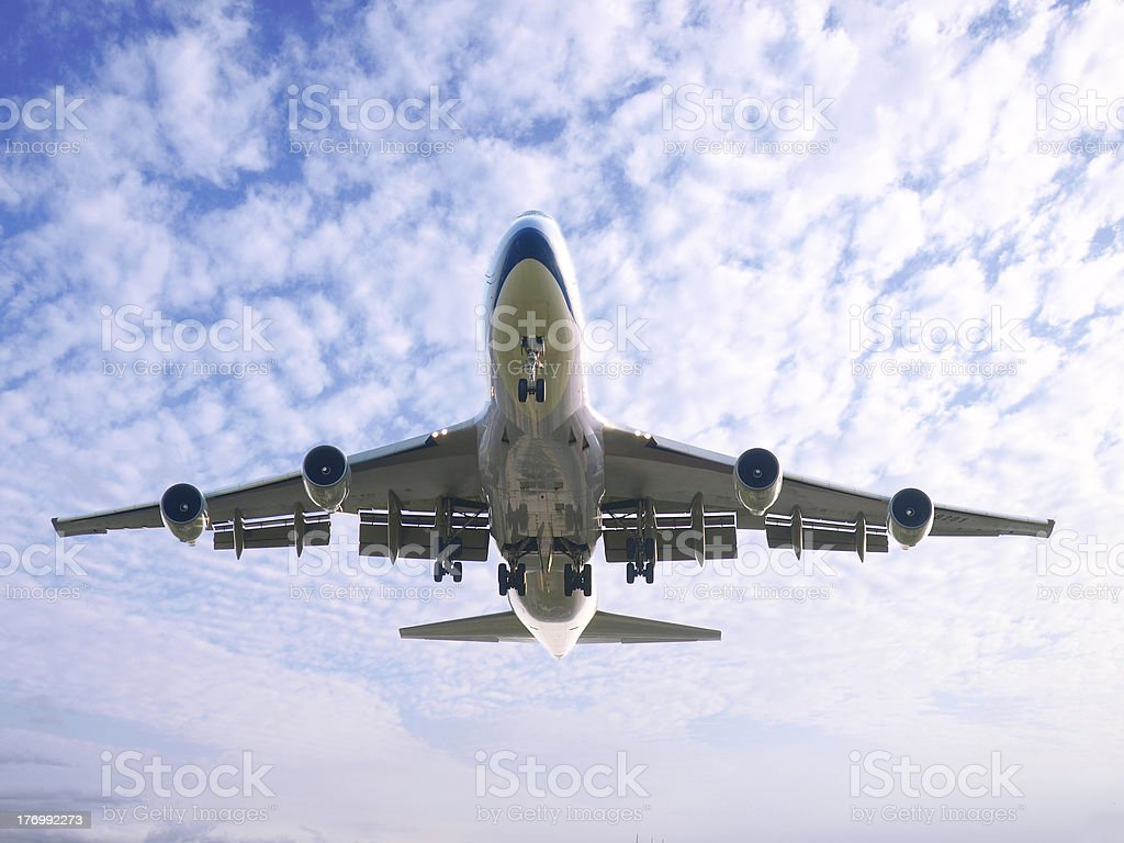 Airplane flying royalty-free stock photo