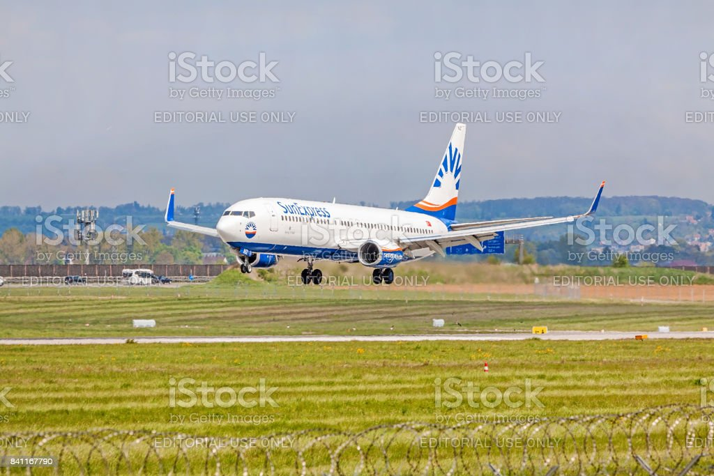 Airplane from SunExpress on landing approach, airport Stuttgart, Germany stock photo