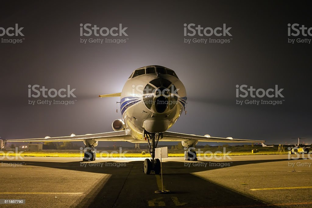 Airplane front close-up at night royalty-free stock photo
